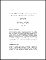 "First page of document ""Statistical Procedures for Forecasting Criminal Behavior"""