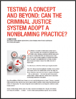 "First page of document ""Testing a Concept and Beyond: Can the Criminal Justice System Adopt a Nonblaming Practice?"""