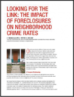 "First page of document ""Looking for the Link: The Impact of Foreclosures on Neighborhood Crime Rates"""